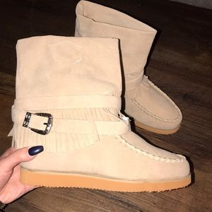 Shoes - Moccasin style tan ankle boots with buckle